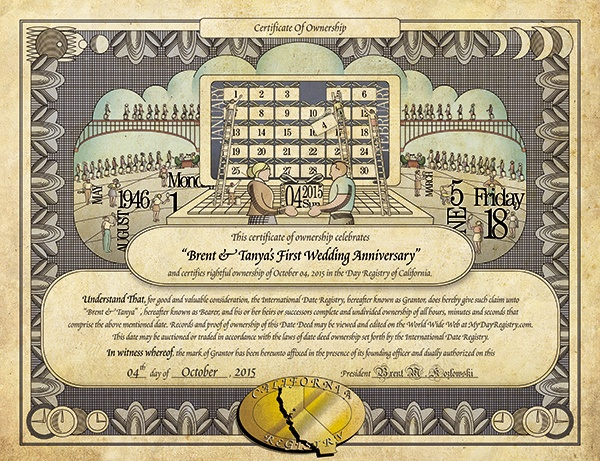 An image of the first anniversary gift certificate of ownershi